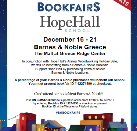 Support Hope Hall this Holiday Season at our Annual Woodworking Holiday Sales & at Select Barnes & Noble Locations